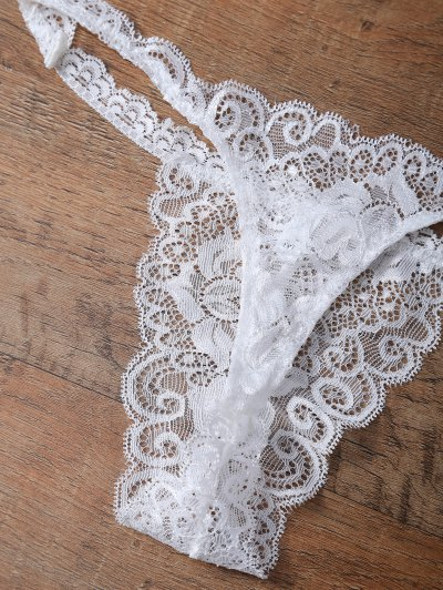 Unlined Lace Bandeau Bra and Panty - WHITE XL Mobile