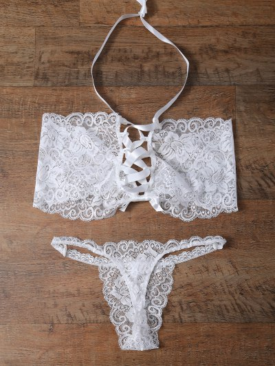 Unlined Lace Bandeau Bra and Panty - WHITE M Mobile