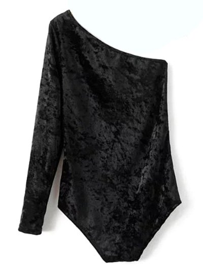 One Sleeve Velvet Skew Neck Bodysuit - BLACK L Mobile