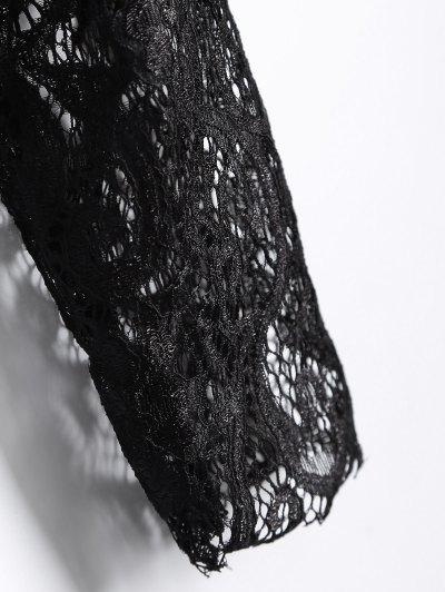 Long Slevee High Neck Lace Blouse - BLACK 2XL Mobile