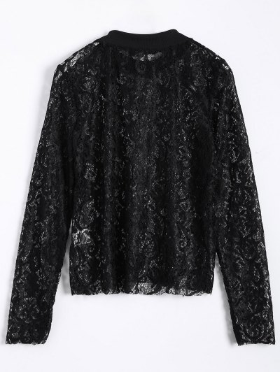 Long Slevee High Neck Lace Blouse - BLACK S Mobile