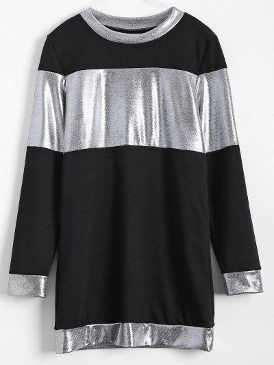 Metallic Color Long Sleeve Mini Dress - BLACK 2XL Mobile