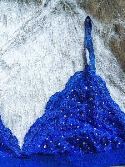 Hot Fix Rhinestone High Waisted Bra Set - BLUE S Mobile