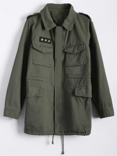 Star Patched Utility Jacket - ARMY GREEN L Mobile