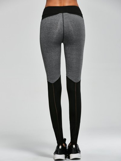 Openwork Color Block Sports Leggings - BLACK S Mobile