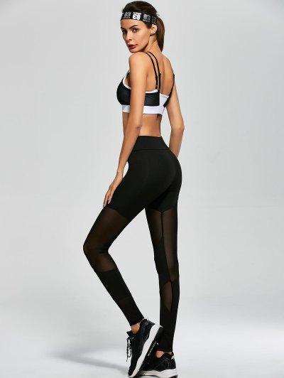 Mesh Insert Sports Bra and Sports Leggings - BLACK M Mobile