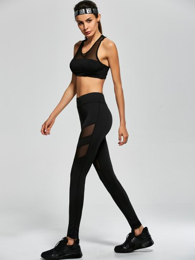 Mesh Panel Tank Top and Stretch Pants Yoga Suit - BLACK L Mobile