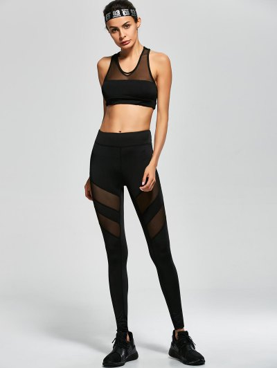 Mesh Panel Tank Top and Stretch Pants Yoga Suit - BLACK M Mobile