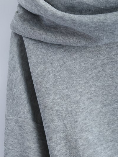 High-Low Tunic Hoodie - GRAY L Mobile