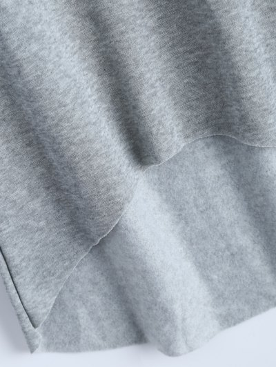 High-Low Tunic Hoodie - GRAY M Mobile
