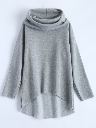 High-Low Tunic Hoodie - Gray