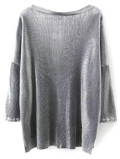Metallic Color High Low Pleated T-Shirt - FROST L Mobile