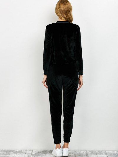 Velvet Sweatshirt and Pants with Zipper - BLACK M Mobile