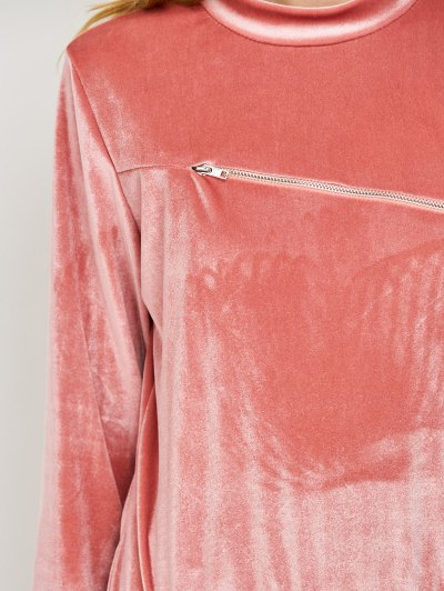 Velvet Sweatshirt and Pants with Zipper - PINK L Mobile