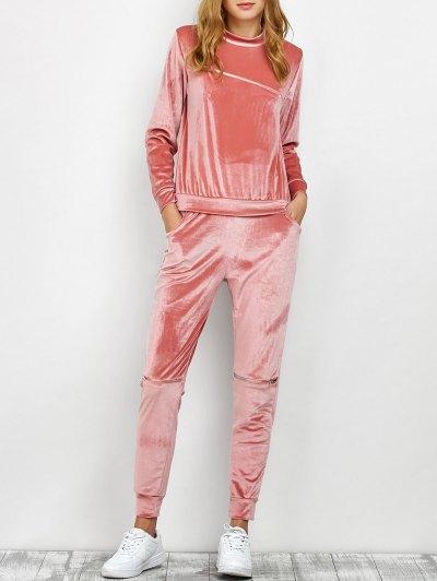 Velvet Sweatshirt and Pants with Zipper - PINK S Mobile