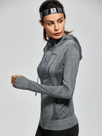 Active Zipper Sports Hooded Jacket - GRAY L Mobile