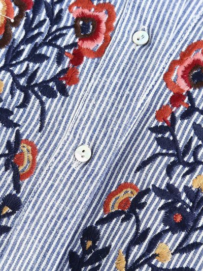 Embroidered Bib Frilled Shirt - BLUE AND WHITE L Mobile