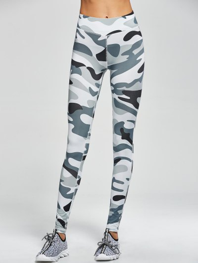 Camouflage High Waist Sport Pants - ARMY GREEN CAMOUFLAGE S Mobile