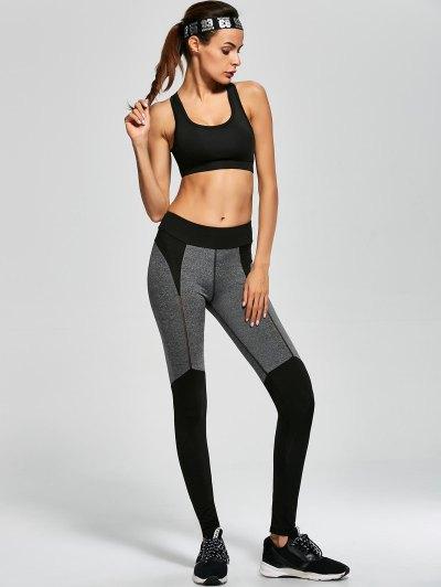 Openwork Color Block Sports Leggings - BLACK M Mobile