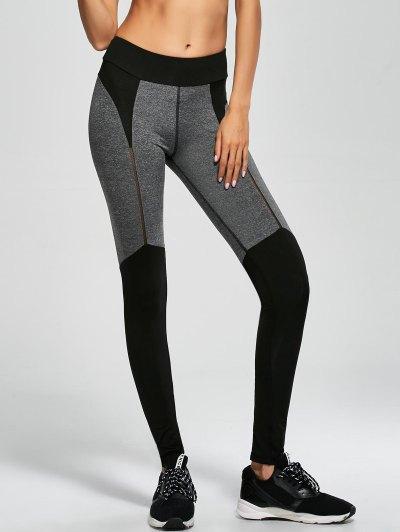 Openwork Color Block Sports Leggings - BLACK S Mobile