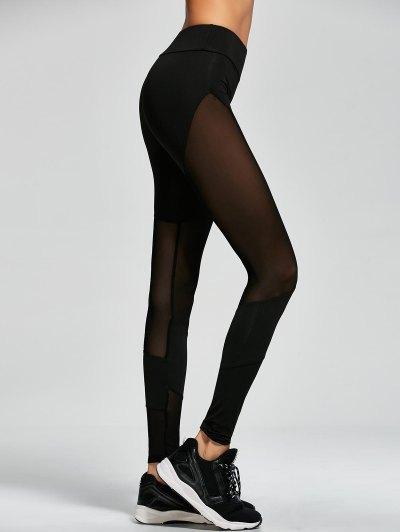 Mesh Insert Gym Sports Leggings - BLACK L Mobile