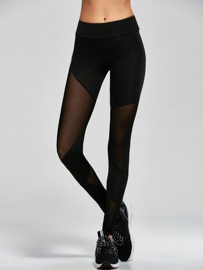 Mesh Insert Gym Sports Leggings - BLACK M Mobile