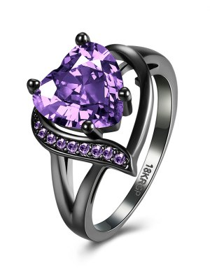 Rhinestoned Heart Shape Ring - Purple