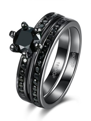 2PCS Rhinestoned Rings - Black
