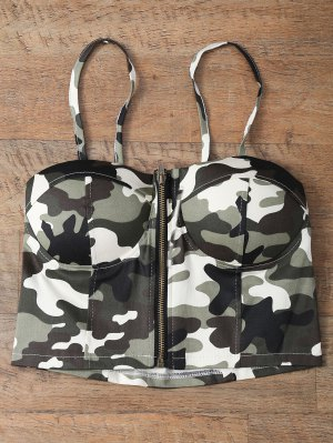 Corset Bralet Camouflage Cami Top - Green