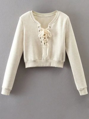 Lace Up Fleece Lining Sweatshirt - Off-white