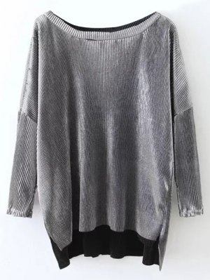 Metallic Color High Low Pleated T-Shirt - Frost
