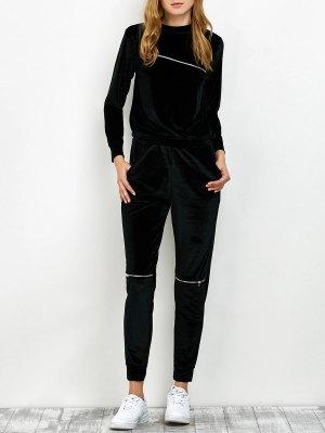 Velvet Sweatshirt And Pants With Zipper - Black