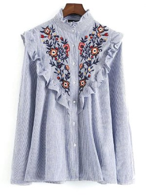 Embroidered Bib Frilled Shirt - Blue And White