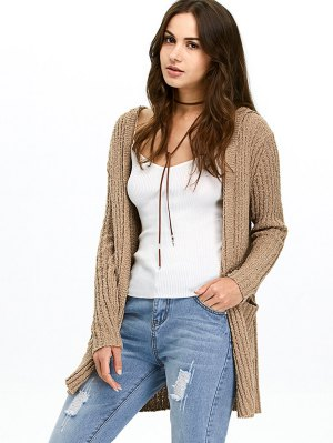 Ribbed Double Pockets Hooded Cardigan - Brown