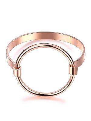 Bracelet Doré Et Décoré D'un Cercle Métallique - Or Rose