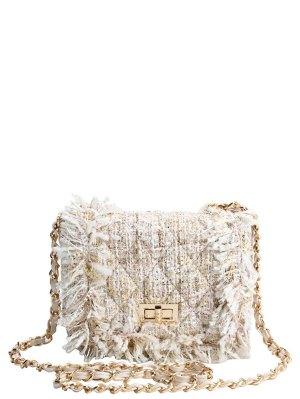 Chain Argyle Twist-Lock Closure Crossbody Bag - Off-white