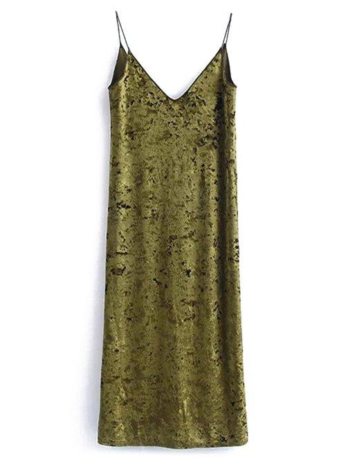 Back Slit Velvet Slip Dress