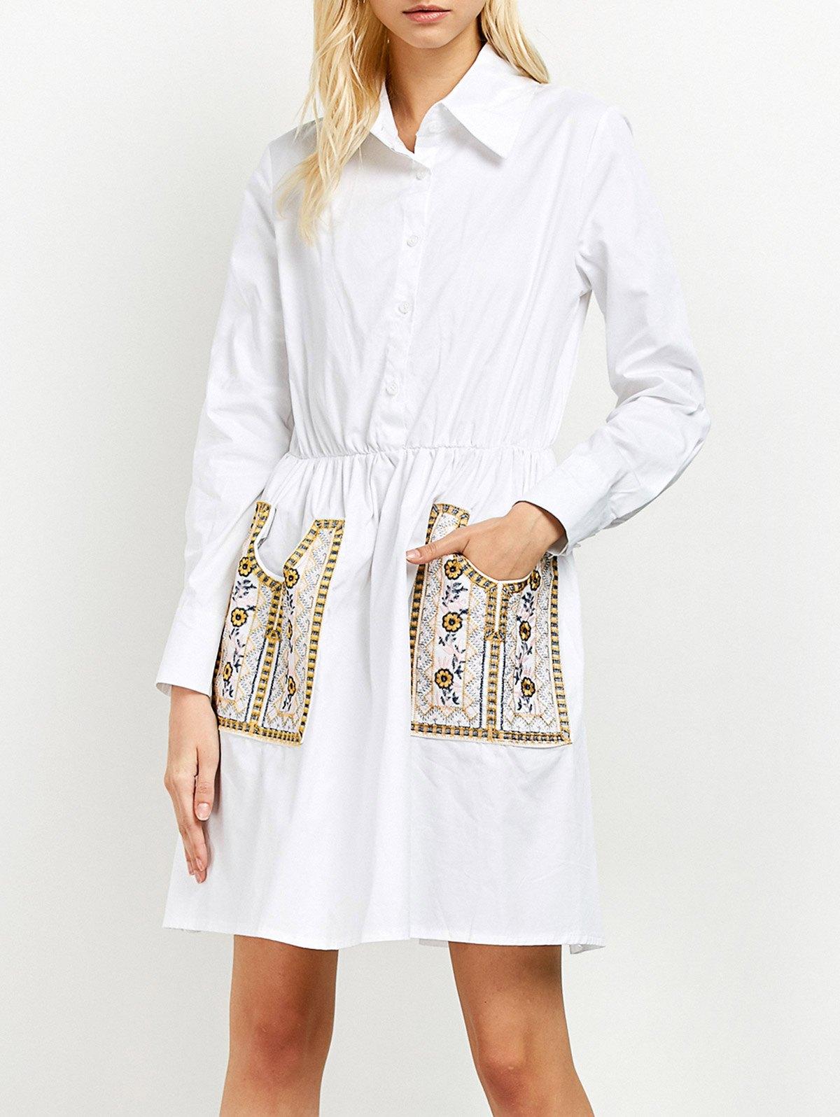 Long Sleeve Embroidered Pockets Shirt DressClothes<br><br><br>Size: L<br>Color: WHITE