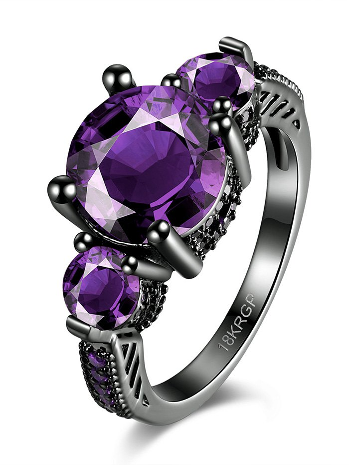 Vintage Faux Gemstone RingAccessories<br><br><br>Size: 6<br>Color: PURPLE