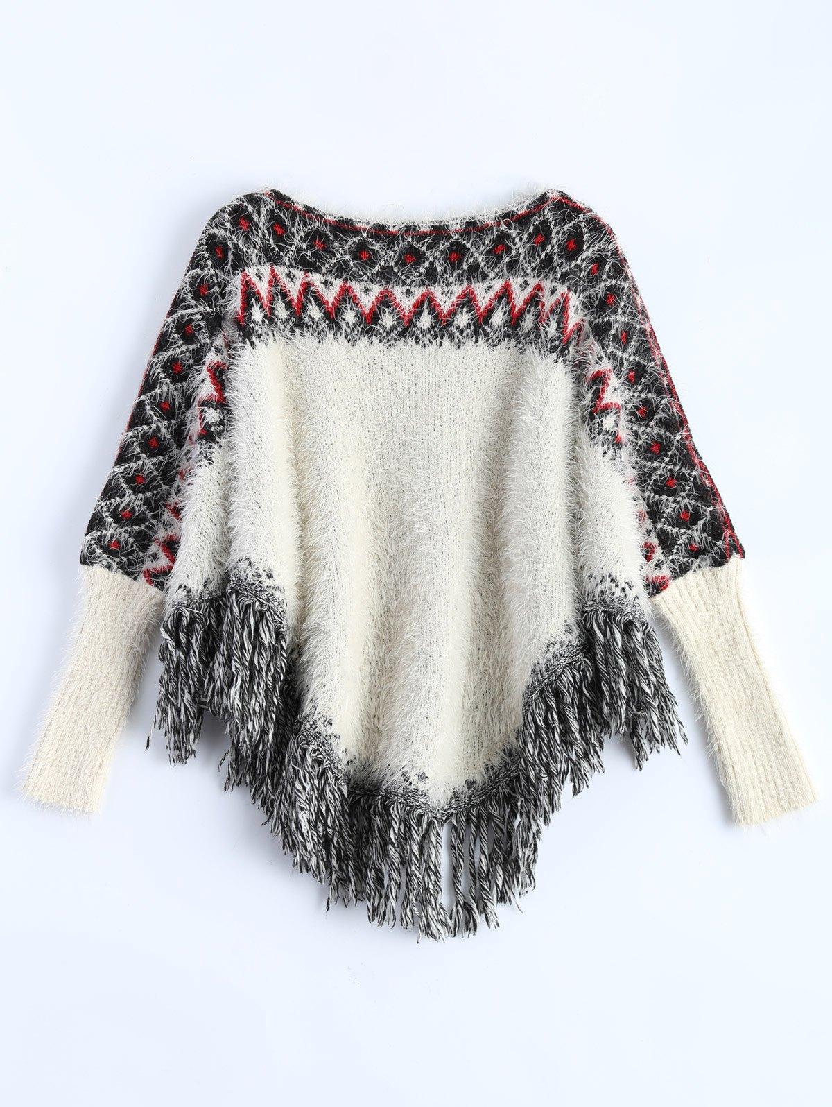Fringe Fuzzy Batwing Sweater
