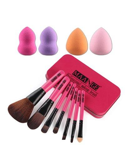 7 Pcs Nylon Makeup Brushes Set with Iron Box + 4 Pcs Beauty Blenders
