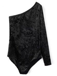 One Sleeve Velvet Skew Neck Bodysuit