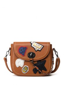 Patches Chains Crossbody Bag - Brown