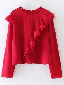 Buy Frilled Top M RED