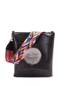 Colorful Strap Pompon Shoulder Bag - Black