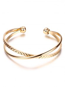 Crossover Engraved Bracelet - Golden