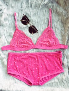 Hot Fix Rhinestone High Waisted Bra Set