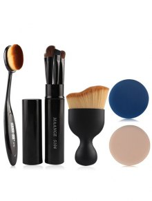 5 Pcs Eye Pinceaux De Maquillage Kit + Foundation Brush + Incurvées Blush Brush + Air Puffs - Noir
