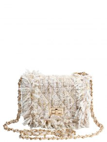 Chain Argyle Twist-Lock Closure Crossbody Bag - Off-white