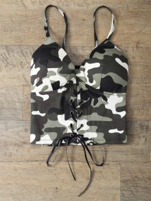 Padded Lace Up Camouflage Bralet Top - Camouflage Color